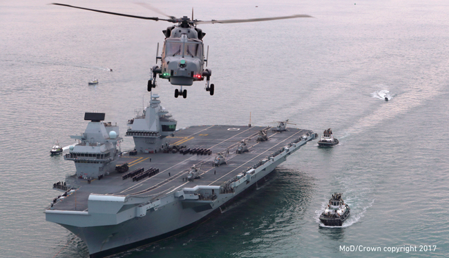 Britain's future flagship HMS Queen Elizabeth sailed into her home port of Portsmouth for the first time. Photo couurtesy of Dan Rosenbaum, MoD/Crown copyright 2017