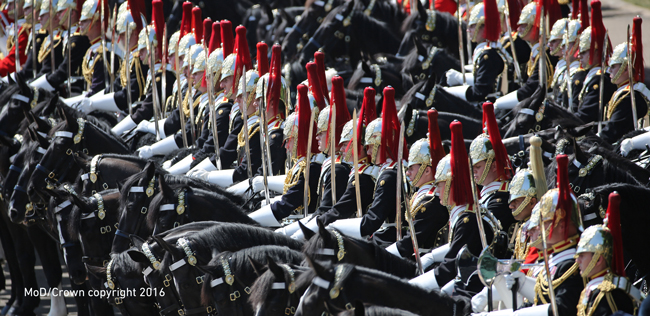 Pictured are members of the Household Cavalry Mounted Regiment (HCMR) on the Mall as the Army celebrate the birthday of their Queen. Photo couurtesy of Owen Cooban, MoD/Crown copyright 2016