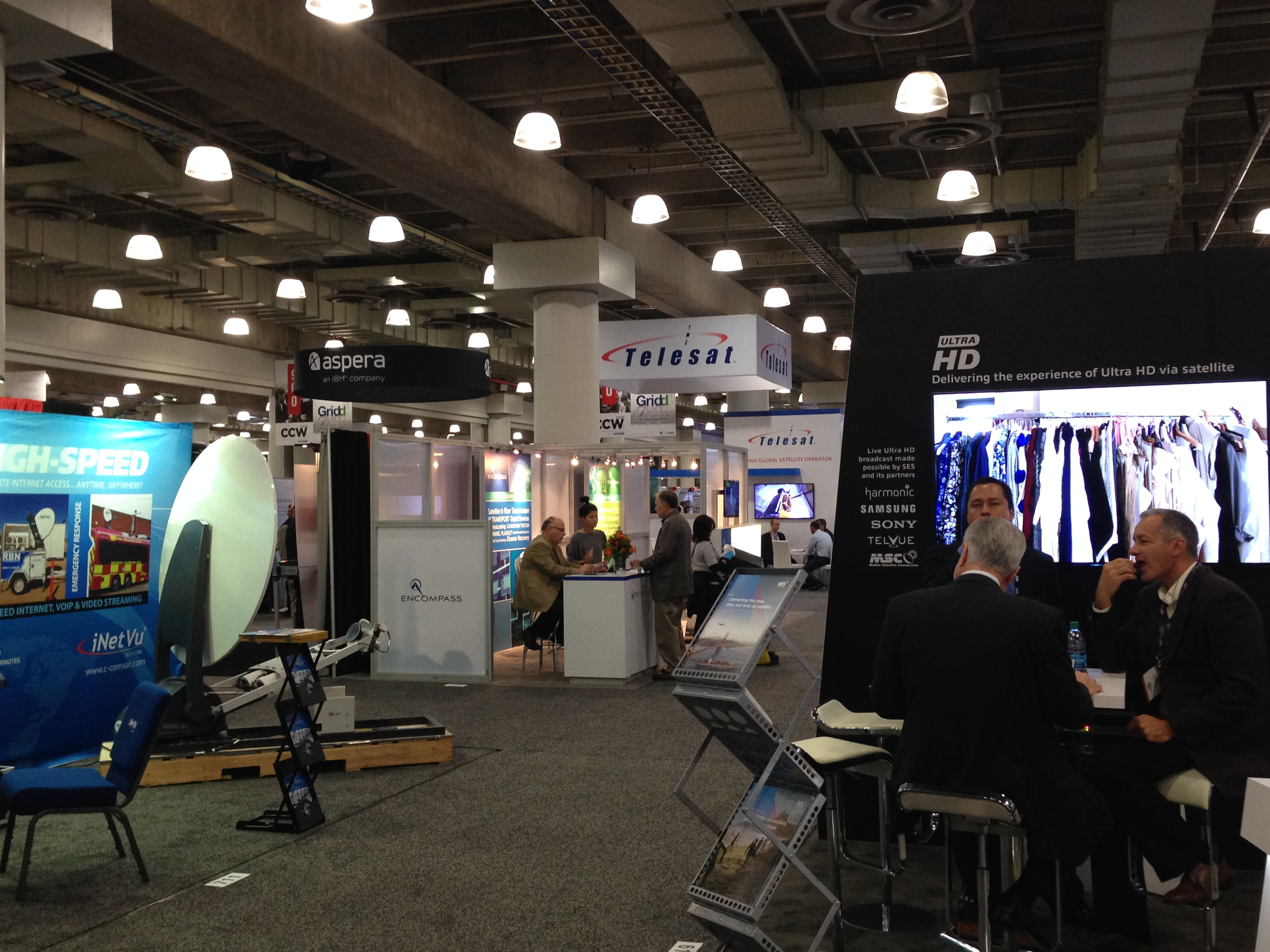 "Exhibitors at the SATCON 2015 show, officially renamed ""NAB New York,"" on display at the Javits Center in Midtown Manhattan"