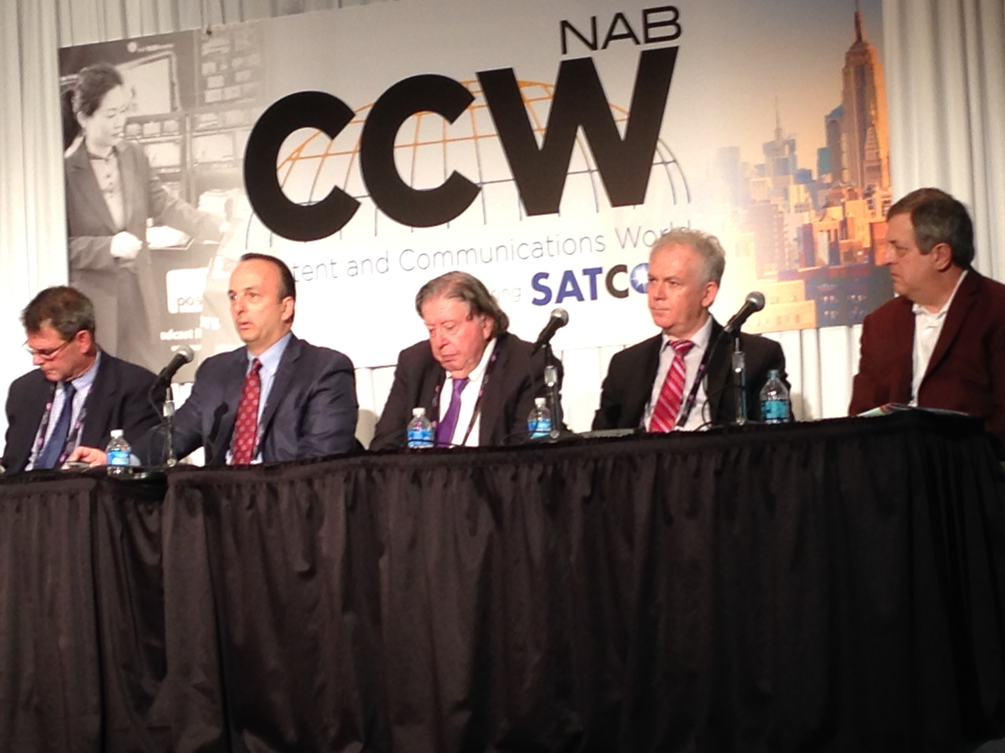 "(L to R) Dave Provencher (AvL Technologies), Keith Buckley (CPI ASC Signal), Dave Hershberg (STS Global), Cristi Damian (Advantech Wireless), and Bob Shuman (Kymeta) discuss the latest innovations in ground systems at the panel discussion ""It All Starts on the Ground"" at SATCON 2015"