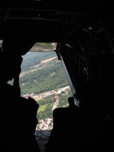 Picture of View from the back hatch of a MV-22 Osprey