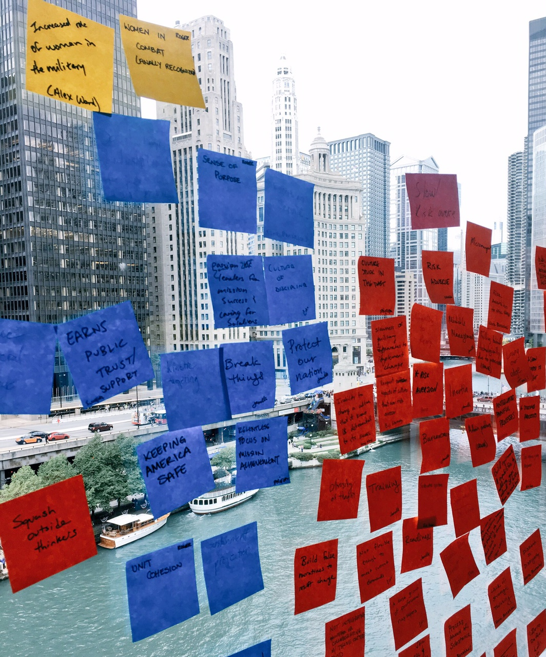 Picture of Post-its at Defense Entrepreneurs Forum