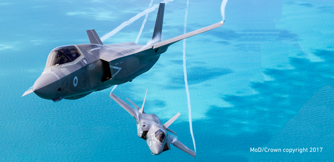 On Friday 1st July 2016, a pair of F-35B's, Lightning II jets of the Royal Air Force and USMC took part in some formation flying over the east coast of England. Photo couurtesy of Tim Laurence, MoD/Crown copyright 2017